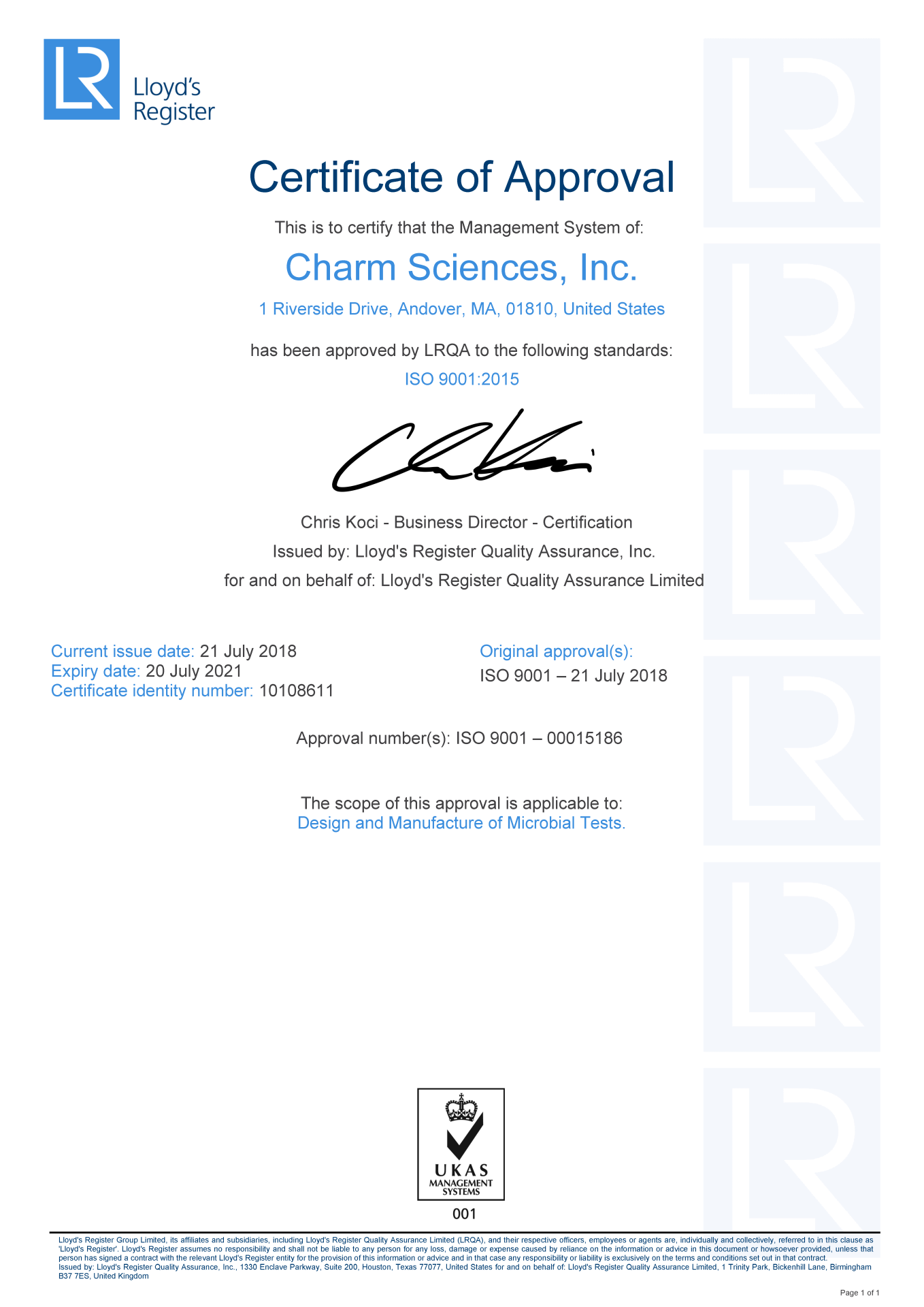 Charm Sciences Awarded Iso 90012015 Certification Compliance